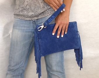 Chic Leather Clutch with Fringe Blue Suede Medium Evening Envelop Purse FREE SHIPPING