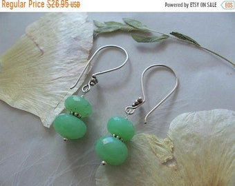 "ON SALE Chrysoprase Gemstone Faceted Rondelle Dangle Earrings ~ Sterling Silver Beads & Earwires ~ 2"" Length"