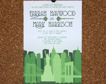 Set of 25 / Custom New York City Skyline Invitation / Green / Wedding / Event / Birthday / Bachelorette Party