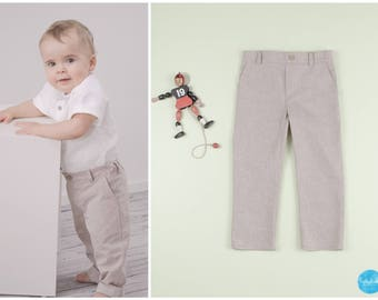 Baby boy beige chino pants suit pants Taufanzug ring wearer outfit kids suit long pants baby boys suit