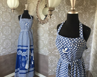 Vintage 1960's 70's Malia White and Blue Halter Top Sundress Dress XS