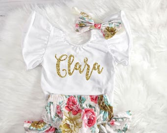Personalized Newborn Outfit Baby Girl Outfit Baby Girl Take Home Outfit Newborn Hospital Outfit Baby Shower Gift Floral Newborn Outfit