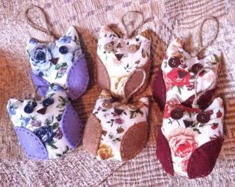 Flower fabric hanging Owl Decorations
