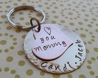 Love You Mommy Keychain - Stamped Personalized Keychain- Custom Names -  Mothers Day Valentine Gift -Gift for Mom Mommy - Mom Jewelry -K 18