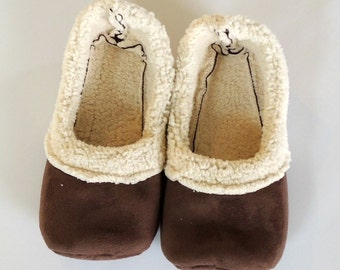 Handcrafted Womens Sherpa Loafers - Brown Sherpa Slippers - Womens House Shoes - Free Shipping - Gift for Her - Soft House Shoes