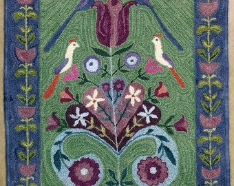 Lovebirds rug, hand-hooked