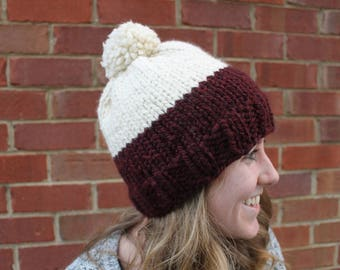 Handknit Burgundy Hat, Pom Pom Knit Hat, Winter Accessories