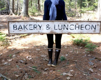 6ft Bakery & Luncheon Large Wood Sign Market Sign Rustic Wood Sign Kitchen Sign Vintage Inspired Kitchen Decor Food Decor Framed Wood Sign