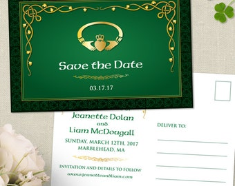 Claddagh Ring Celtic Knots Irish Save the Date Postcard or Flat Card, Printable, Evite or Printed (US Only) Announcements
