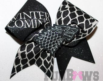 Awesome Game of Thrones Winter is Coming Cheer Bow - an Original from FunBows !