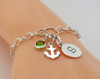 Personalised Anchor Bracelet, Sterling Silver Anchor Bracelet, Anchor Jewelry, Nautical Bracelet, Anchor and Initial Birthstone Bracelet