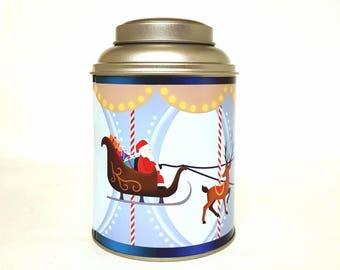 Boîte à thé métallique dôme de Noël