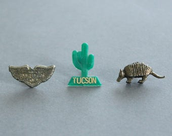 Harley, Cactus and Armadillo Lapel Pins