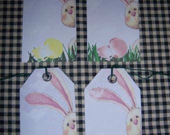 Whimsy Hang Tag Bunny & Eggs Easter Holiday Gift Tags Set of 12 Tags Pre-Strung
