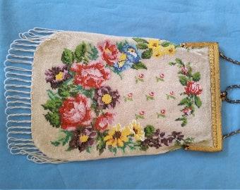 Antique Gold Filigree Micro Glass Beaded Flowered Flapper/Handbag Fringed Purse