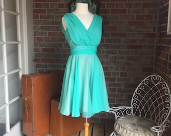 1960's Miss Elliette Seafoam Chiffon Dress