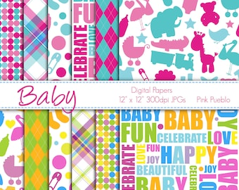 Digital Papers Printable Papers Scrapbook Papers - Baby or Baby Shower - Commercial and Personal Use