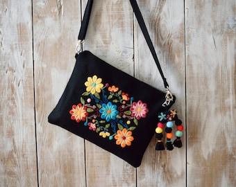 Embroidered Crossbody Bag,Embroidered Bag,Floral Crossbody Bag,Embroidered Clutch,Black Floral Purse,Floral Clutch,Bohemian Clutch,Black Bag