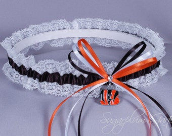 Cincinnati Bengals Lace Wedding Garter - Ready to Ship