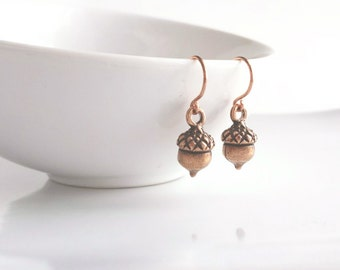 Acorn Earrings - little antique copper finish tiny acorns on simple delicate small ear hooks - Minimalist Squirrel Nuts - dark aged patina