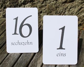 White Wedding Table Numbers - German - Tent Fold - 1 - 16 Black Numbers