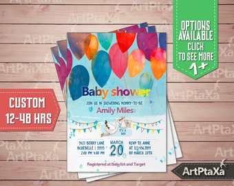 CUSTOM, Stork Baby Shower, Watercolor Balloon baby shower invitations, boy Baby Shower Invite, It's a boy, blue Baby Shower #Baby_M0003.1