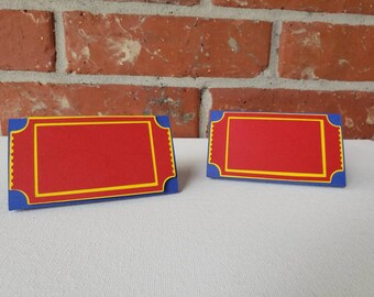 Circus Carnival Ticket food place cards