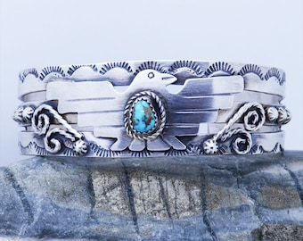 Handmade Navajo Genuine Turquoise Gemstones Sterling Silver 925 cuff bracelet adjustable women's with Large Bird