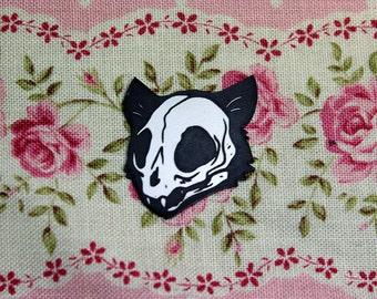 Cat Skull Pin, black and white, laser cut acrylic