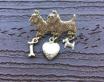 Vintage Jewelry I Love Scottie Dogs Dangle Pin Brooch