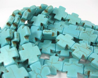 20mm x 20mm Turquoise Howlite Cross Beads