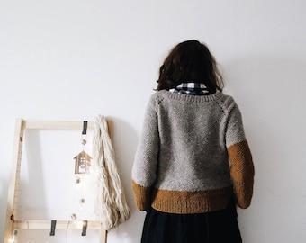 Crunchy Leaves Sweater in Sel + Dorè, Winter Sweater, top down pullover, oversized minimal knitwear