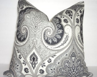 Latika Kravet Shadow Decorative Linen Pillow Cover Kravet Grey Charcoal Paisley Print Pillow Cover Choose Size