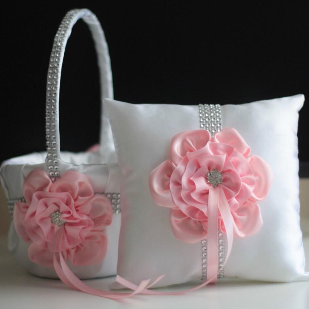 White Pink Bearer Pillow Pink Flower Girl Basket White