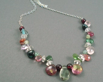 Mixed Gemstone Necklace, Everyday  Necklace, Peridot, Tourmaline, Moonstone, Quartz, Aquamarine, with Sterling Silver Chain