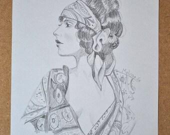Original illustration - Portrait, roaring twenties (pencil)
