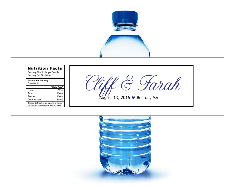 40 Custom Water Bottle Labels. hotel Hospitality gift Bags