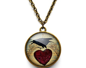 Raven and Red Heart No.1 Necklace (RR06)