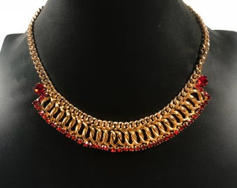 Red and gold vintage nexklace // red crystal necklace