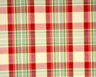 Durable Plaid Fabric Red, Green Yellow Doonbeg Crab Apple