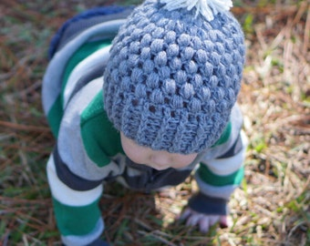 Gray Puff-Stitch With Pom-Pom, Crochet Hat | Baby/Toddler/Children's Winter Hat
