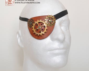 Steampunk Eye Brown Leather Clockwork  and Cogs Pirate Eye Patch