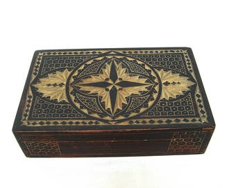 Vintage wood carved jewelry box Antique handmade sewing box