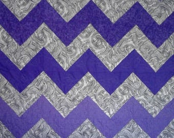 Chevron Purple and Gray Lap or Throw Quilt