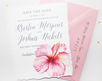 Beach Wedding Save The Date Card, Destination Wedding Save The Date, Tropical Flower Save The Date, Beach Wedding, Maui Hawaii