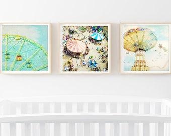 Modern Nursery Wall Art // Set of 3 Fine Art Prints for Kids Room // Nostalgic Carnival Photography // Nursery Art Set Kids Room Art Set