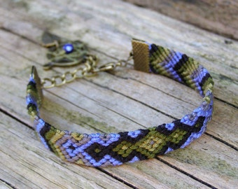 Dream catcher bracelet, Ikat aztec wayuu, Boho dreamcatcher, Native american indian, Fiber jewelry, Ethnic wrap bracelet,  Blue tribal charm