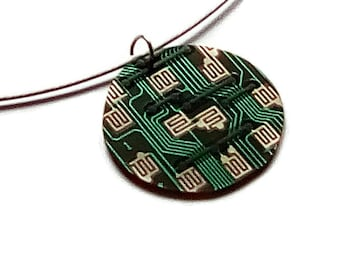 Computer Jewelry, round circuit board pendant, upcycled circuit board pendant, from recycled circuit board, computer nerd gift, computer geek.