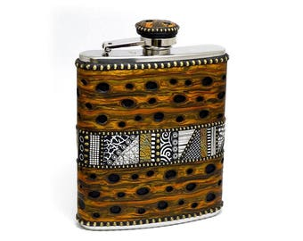 Flask stainless steel 6oz polymer clay overlay with faux burl wood black and white mosaic inlay brass beads one of a kind unique unisex
