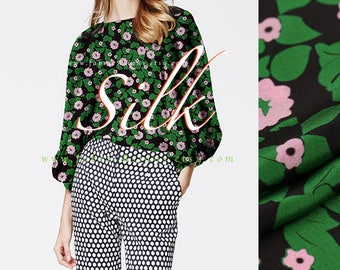 Green Leaves Silk Crepe printed silk fabric by the yard